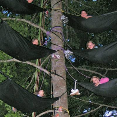 Sleeping in Tree Hammocks