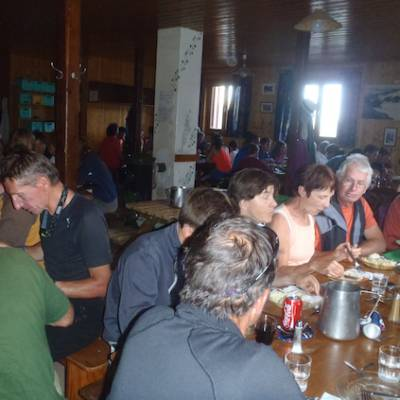 Refuge du Glacier Blanc in the Ecrins dining room