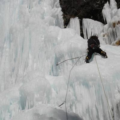Ice climbing on an ice fall in the Southern Alps