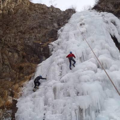 Multi pitch ice climb on ice fall