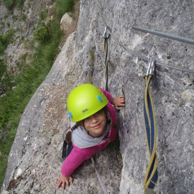 Kiddie Via Ferrata Agnielle Annie climbing up