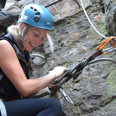 Via Ferrata Sautet close up woman laughing