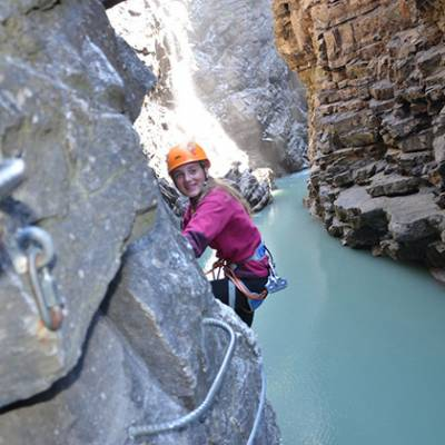 Via Ferrata Sautet girl traversing view of river