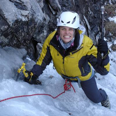 Ice climbing Sally close up