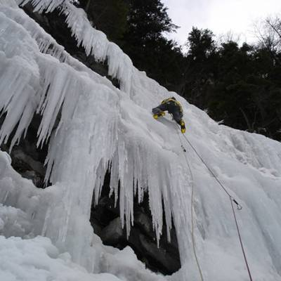 Ice Climbing half way up fall