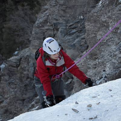 Ice Climbing Susie in red