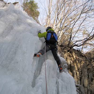 Ice Climbing ice fall in Devoluy
