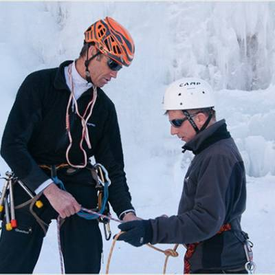 Ice Climbing checking equipment