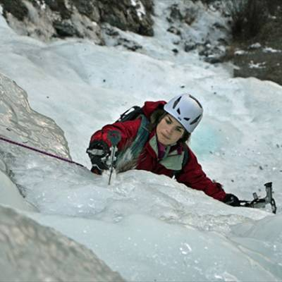Ice Climbing close up Susie ice axe