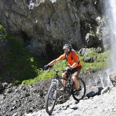 biking in the Valgaudemar valley in the Alps