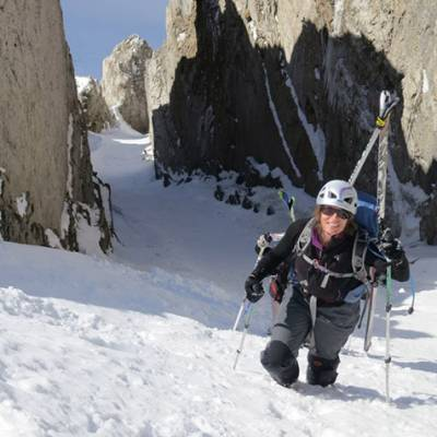 Ski Touring cramponing up a gully