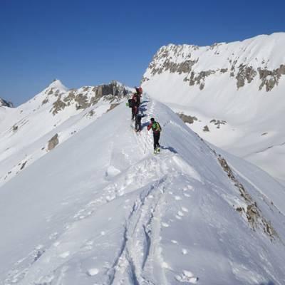 Ski Touring group on a ridge