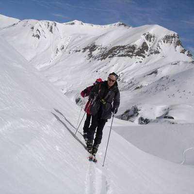 Ski touring skinning up to Piolit