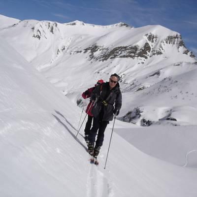 Ski touring skinning up to Piolit