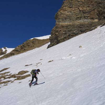 Ski Touring - skinning up to Palastre