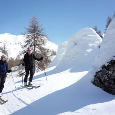 Ski Touring admiring the snow columns