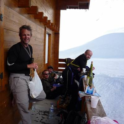 Ski touring stop at a shepherds hut