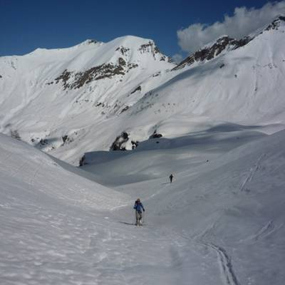 Ski Touring skinning up to the col Pourachiere