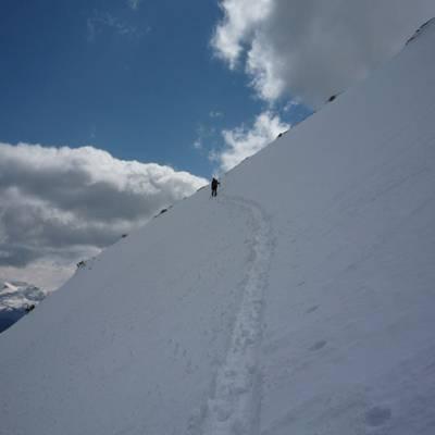 Ski Touring traversing steep slope