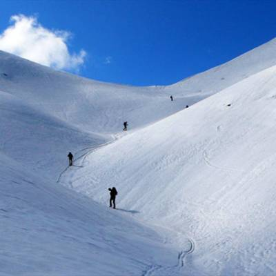 Ski Touring up to col Pourachiere four in a row