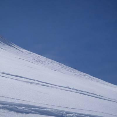 Ski Touring marks in the snow