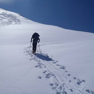 Ski touring skinning up in virgin snow making trac