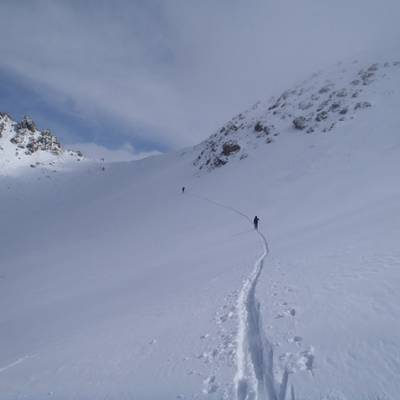 Ski Touring a long way into the Alps