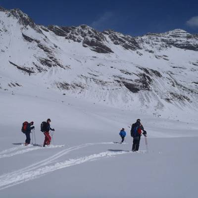 Ski touring discovering virgin snow