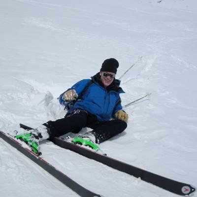 Ski Touring falling in the snow