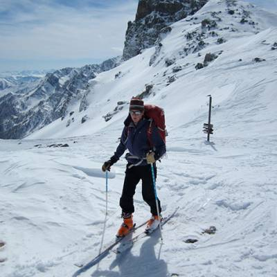 Ski Touring on the ridge in queyras