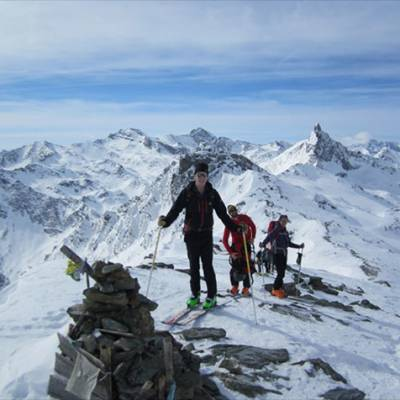 Ski touring along the ridge in Queyras