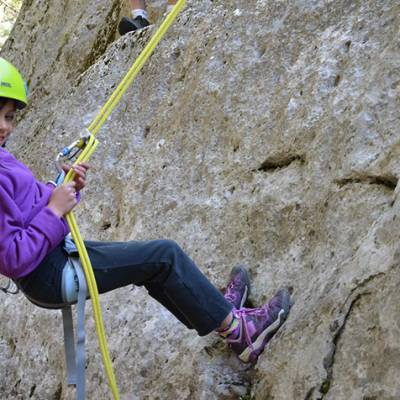 Rock Climbing child abseiling