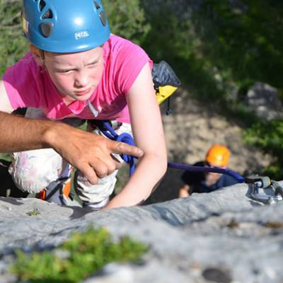 Rock Climbing learning how to lead girl