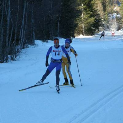 Cross Country Skiing two skiers in race