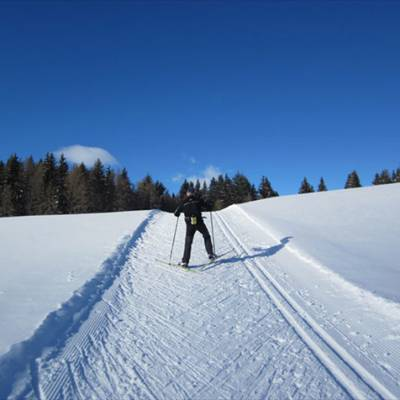 Cross country skiing up a hill