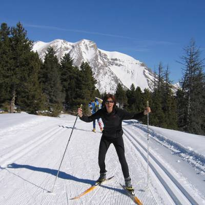 Cross Country skiing along the pistes in Devoluy