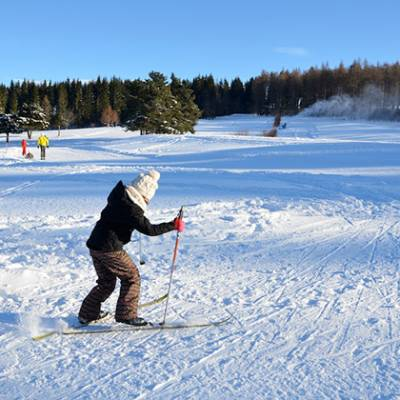Cross Country skiing child learning skating Col Ba