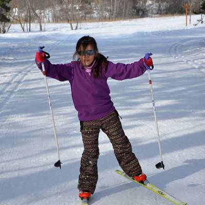 Cross Country skiing child learning skating