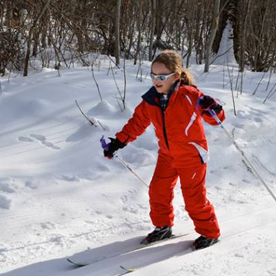 Cross country skiing child learning classic