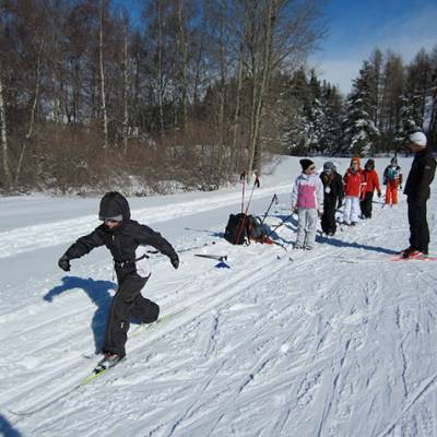 Cross country skiing kids learning technique