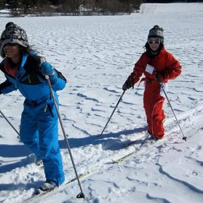 Cross Country skiing kids enjoying