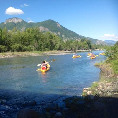 The river Durance in the Alps on sit on top kayaks