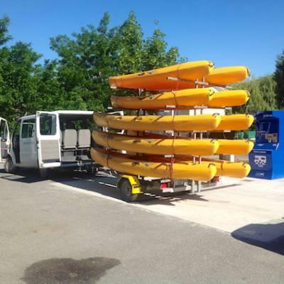 Kayaking thriver durance on sit on top kayaks
