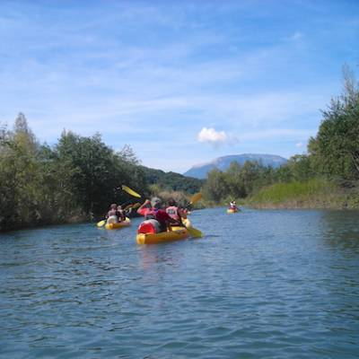 Kayaking the river durance on sit on top kayaks in the Alps