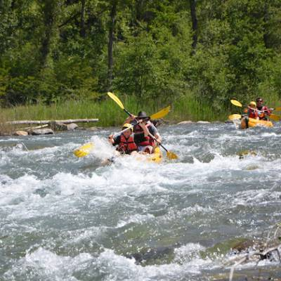 Kayaking durance river in the Alps