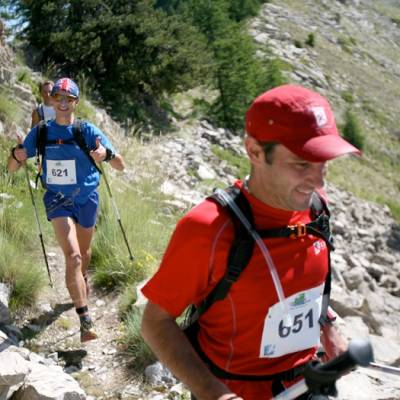 Trail Running up grass and rocks