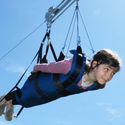 Giant Tyrolean Zip Wire with young girl
