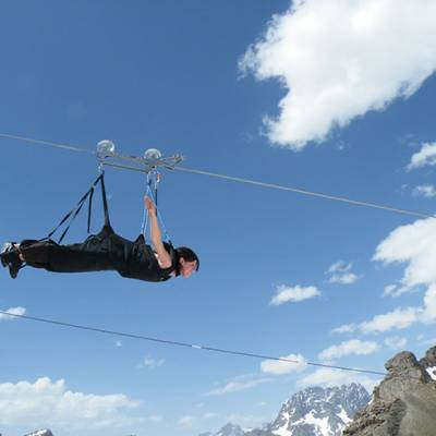 Giant tyrolean Zip wire in summer