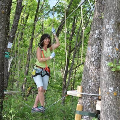 High Ropes Adventure negotiating rope swings