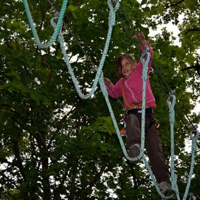 High Ropes Adventure stepping across ropes